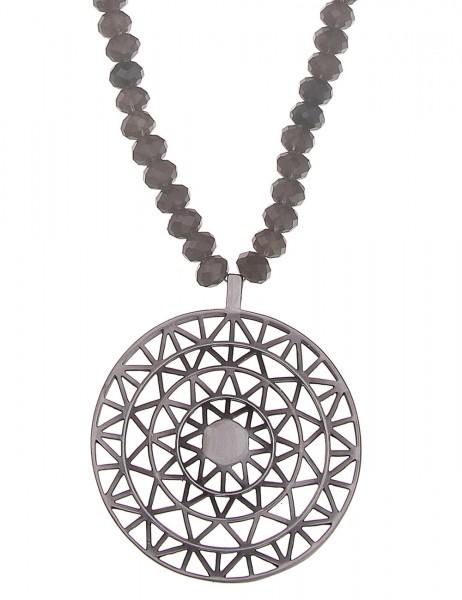 Leslii Halskette Dreieck Muster Grau | lange Damen-Kette Mode-Schmuck | 90cm