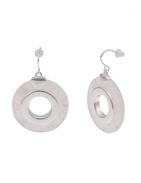 Leslii Damenohrringe Ohrhänger Shine aus Metalllegierung mit Kunststoff Länge 4cm in Silber Weiß