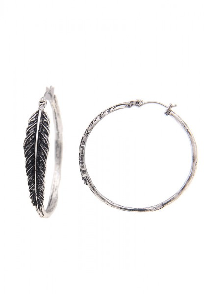 -70% SALE Leslii Damen-Ohrringe Creolen Feder-Look Silber Metalllegierung Ø 4cm 230113664