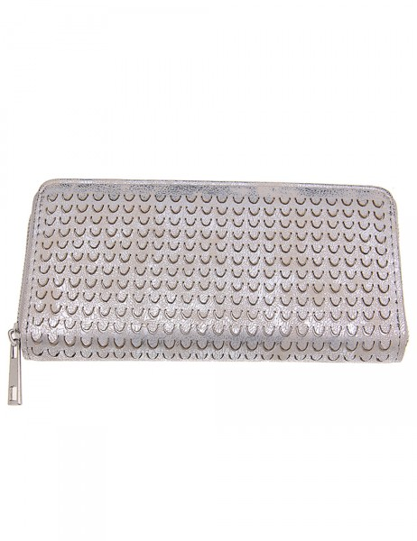 -50% SALE Leslii Damen Geldbeutel / Clutch Modern Style Metallic Silber Lederimitat 19cm x 10cm 4001