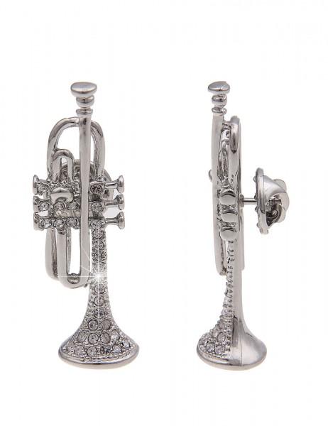 -70% SALE Leslii Pin Anstecker Glitzer Trompete Silber | Damen-Accessoires Mode-Schmuck | Größe: 4,7