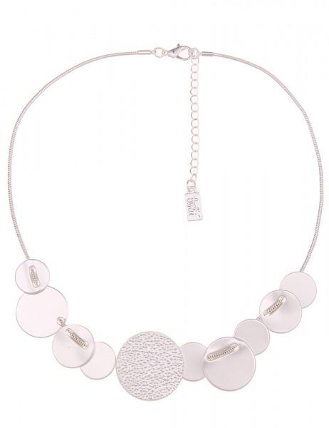 -70% SALE Leslii Halskette Matt-Scheibe Silber | kurze Damen-Kette Mode-Schmuck | 44cm + Verlängerun