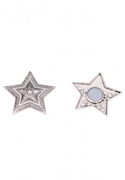 Leslii Damen Magnet-Brosche Muster Stern Metalllegierung Strass 10cm Silber 270116868