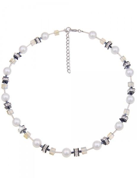 Leslii Premium Quality Damen-Kette Glitzer-Perle Weiß Metalllegierung 45cm + Verlängerung 210115763