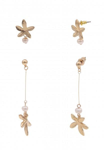 Leslii Damen-Ohrringe Ohrstecker Blüte Blumen-Ohrringe Perlen-Ohrringe goldene Modeschmuck-Ohrringe