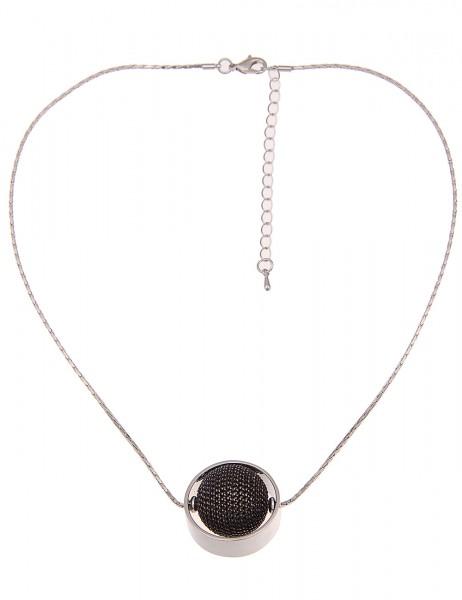 Leslii Damen-Kette Ketten-Kugel Silber Schwarz Metalllegierung 46cm + Verlängerung 210217099