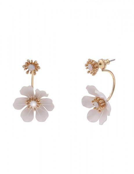 Leslii Damen-Ohrringe Statement-Ohrstecker Blüte Blumen-Ohrringe goldene Modeschmuck-Ohrringe Ohrsch