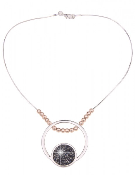Leslii Damen-Kette Statement Collier-Kette Ring-Anhänger Bicolor kurze Halskette silberne Modeschmuc