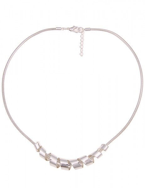 Leslii Damen-Kette Swirl Silber Metalllegierung Hochglanz 43cm + Verlängerung 210116961