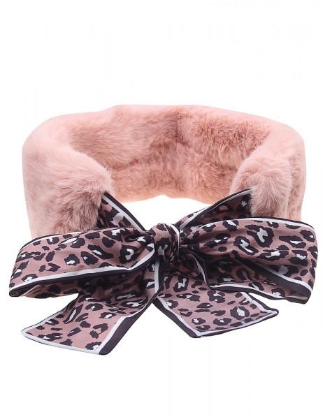 Leslii Damen-Schal Kragenschal Leo-Muster rosa Animal-Print Fake Fur Teddyfell weicher Teddy-Schal W