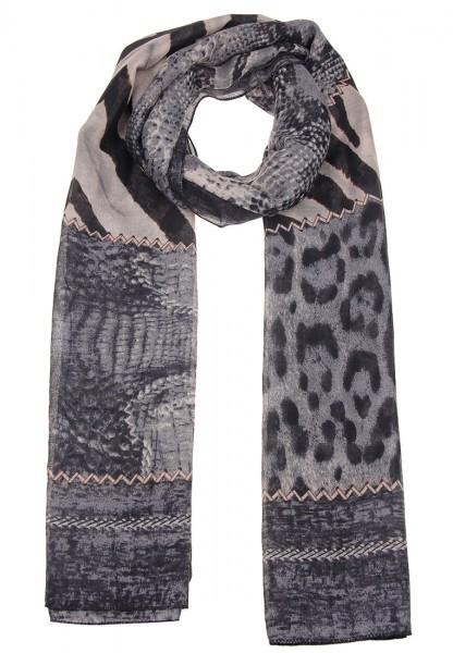 LAST CHANCE Leslii Tiermuster Grau | Trendiger ausgefallener Schal | Damen Mode-Accessoire | 178cm x