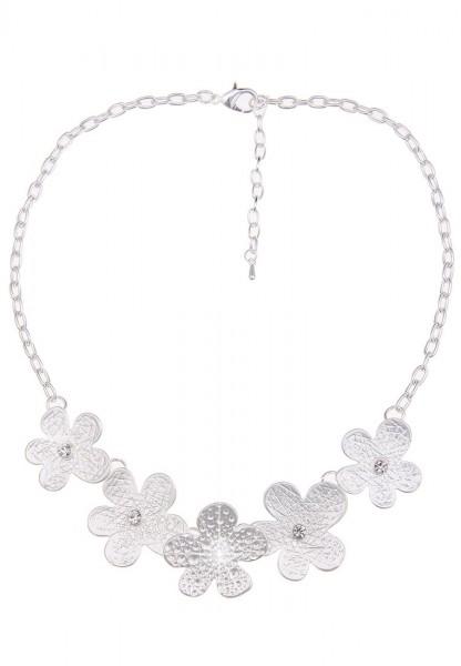 Leslii Halskette Blumentanz Silber | kurze Damen-Kette Mode-Schmuck | 43cm + Verlängerung
