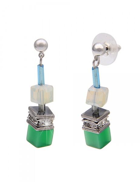 -50% SALE Leslii Premium Quality Damen-Ohrringe Ohrhänger Glitzer-Würfel Grün Metalllegierung 4cm 23