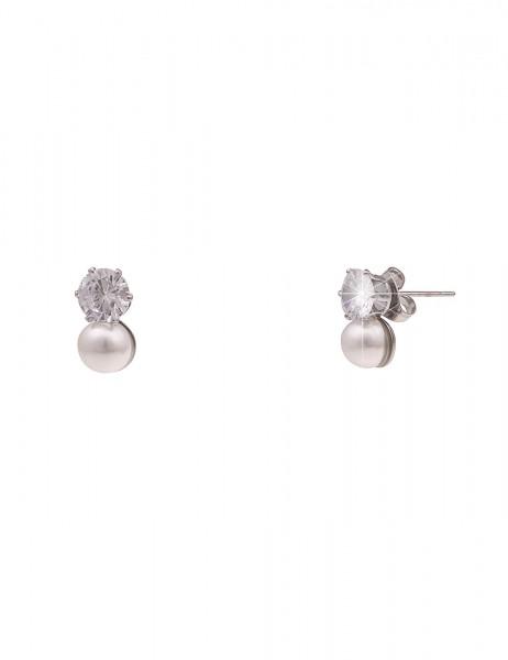 Leslii Damen-Ohrringe Ohrstecker weiße Perlen-Ohrringe Glitzer-Ohrringe silberne Modeschmuck-Ohrring