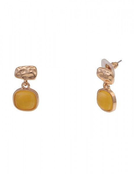 Leslii Damen-Ohrringe gelbe Ohrhänger Statement-Ohrringe gehämmert Kunststoff goldene Modeschmuck-Oh