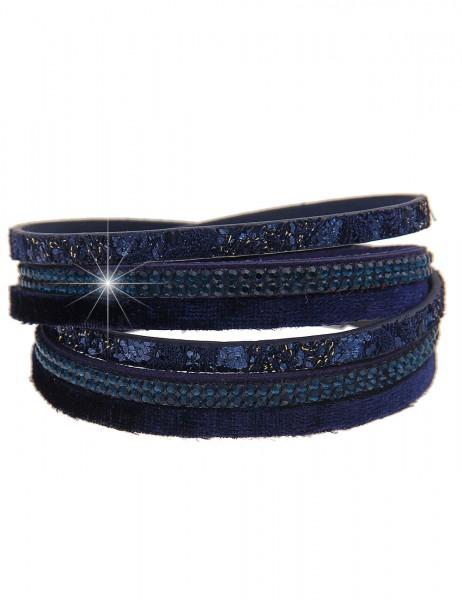 Leslii Damen Wickelarmband Samt Look Aus Lederimitat mit Strass Länge 39cm in Blau