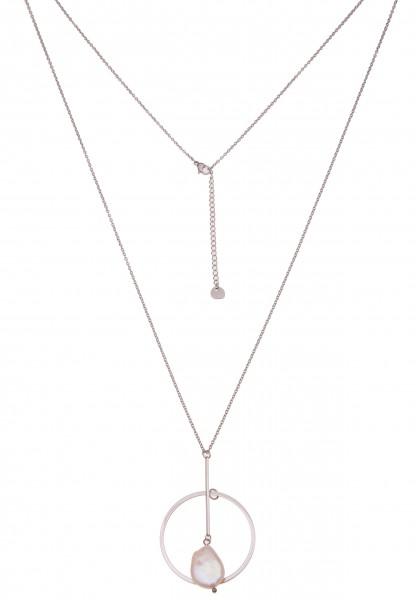 Leslii Damenkette Natur Perle Perlenkette Halskette lange Modeschmuck-Kette Länge 83cm in Silber Wei