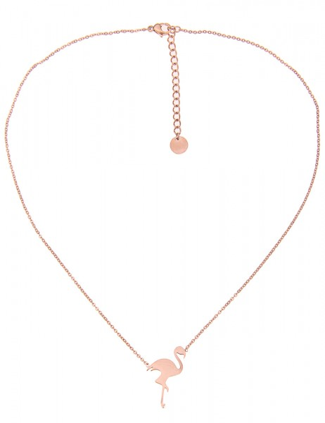 Leslii 4teen Damenkette Flamingo aus Metalllegierung Länge 39cm in Rosé