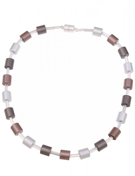 -70% SALE Leslii Premium Quality Halskette Zylinder-Mix Silber | kurze Damen-Kette Mode-Schmuck | 46