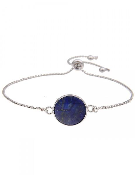 Leslii Damen-Armband Naturstein Rund Blau Silber Länge verstellbar 210416081