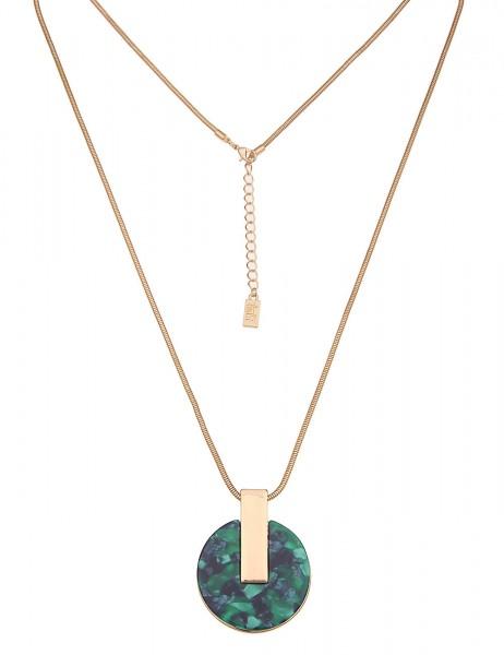 Leslii Damenkette runder Anhänger Statement Schlangen-Kette lange Halskette grüne Modeschmuck-Kette