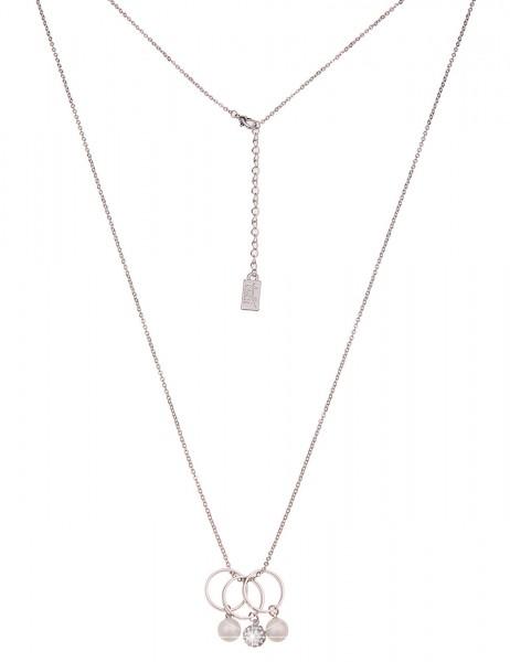Leslii Damenkette Ring Trio Perlenkette Strass Halskette lange Modeschmuck-Kette Länge 80cm in Silbe