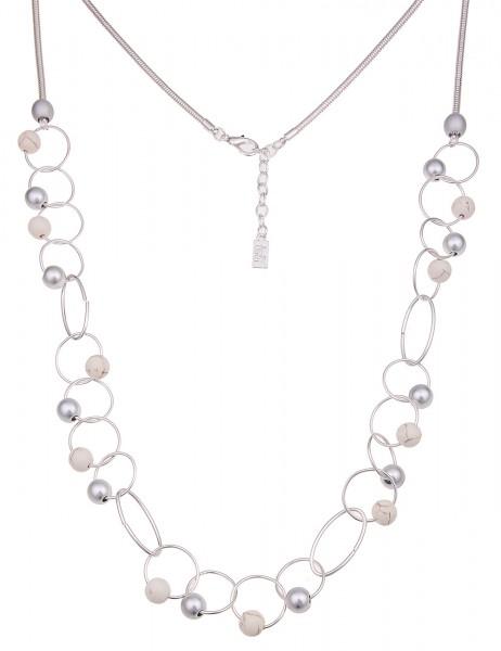 Leslii Damenkette Lasso Tanz aus Metalllegierung mit Natursteinen Länge 88cm in Weiß Silber