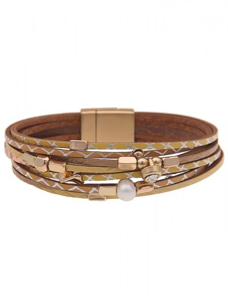 Leslii Damen-Armband Metallic-Muster veganes Leder-Armband Perle Glas-Stein gelbes Modeschmuck-Armba