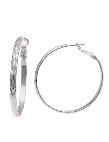 Leslii Creolen Musterspiel Silber | Trendige Damen-Ohrringe | Mode-Schmuck | Ø 4,3cm