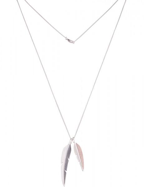 Leslii Damenkette Federleicht aus Metalllegierung Länge 82cm in Silber Grau Rosé