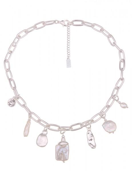 Leslii Damen-Kette Vera Statement Glieder-Kette weiße Perlen-Kette kurze Halskette silberne Modeschm