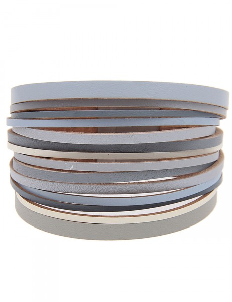 Leslii Damen-Armband Farbenspiel Grau Lederimitat Metalllegierung Länge: 19.5cm Magnetschließe 26041