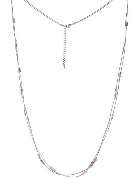 -50% SALE Leslii Halskette Double-Style Grau Silber   lange Damen-Kette Mode-Schmuck   92cm + Verlän