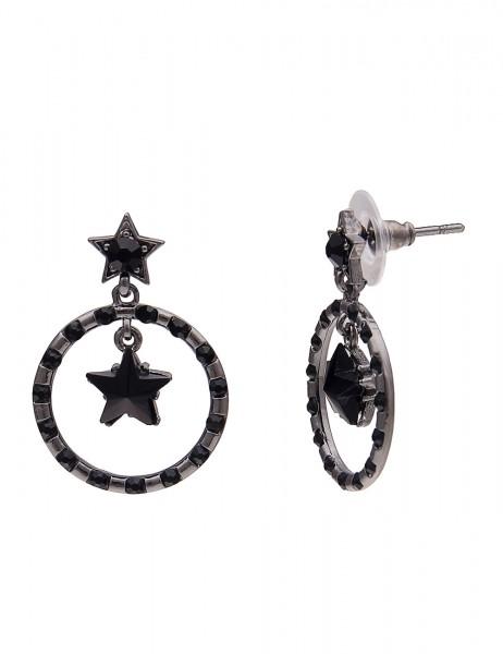Leslii Damenohrringe Ohrhänger Sterne aus Metalllegierung mit Strass Länge 3,4cm in Schwarz