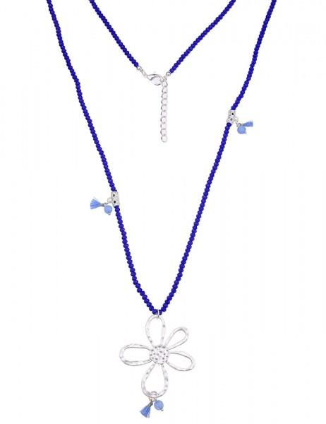 -50% SALE Leslii Damen-Kette Glasperlen Blume Silber Blau Metalllegierung 90cm + Verlängerung 220116