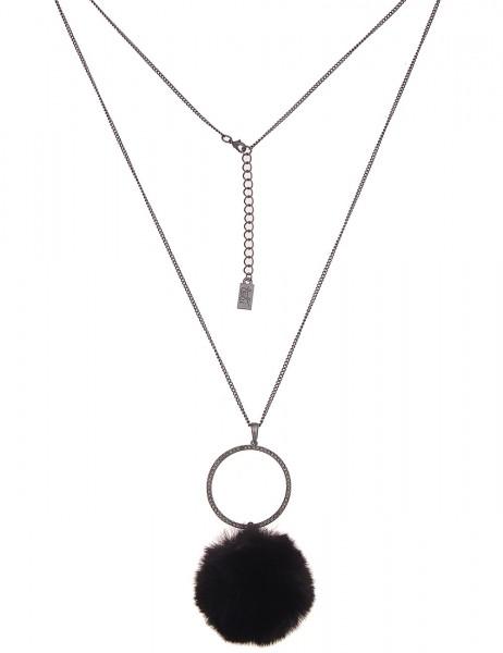 Leslii Damen-Kette Glitzer Kunstfell-Bommel Fake-Fur Strass-Kette lange Halskette schwarze Modeschmu