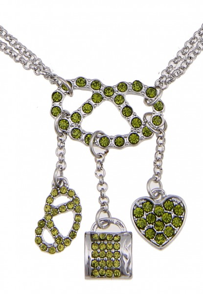 Kurze Halskette Alpenrock Glitzer Brezel Grün