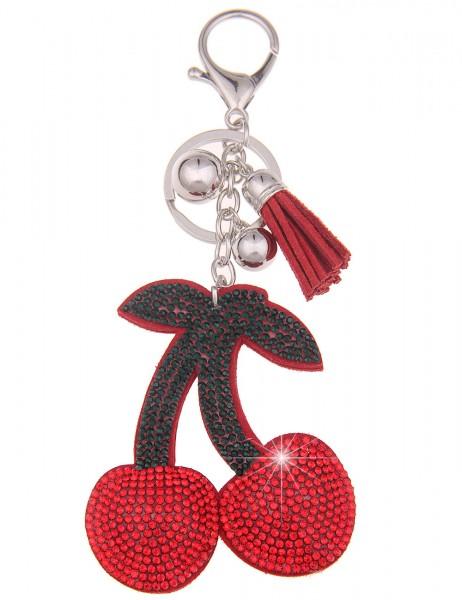 Leslii Schlüssel-Anhänger Glitzer Kirsche Rot | Trendiger Taschen-Anhänger Mode-Schmuck | Länge: 15,