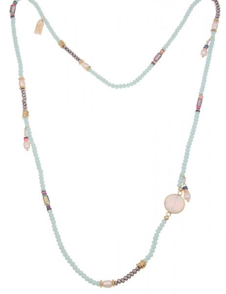 Leslii Damen-Kette Stein-Anhänger Statement-Kette Perlen-Schmuck Glas-Perlen lange Halskette bunte M