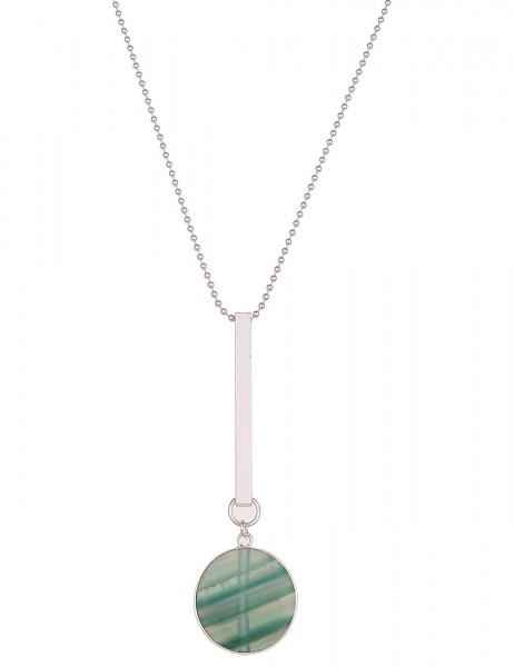 -50% SALE Leslii Halskette Musterstein Silber Grün | lange Damen-Kette Mode-Schmuck | 85cm + Verläng
