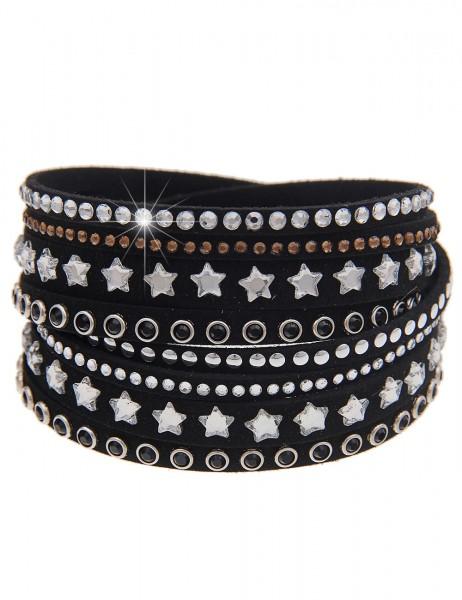 -70% SALE Leslii Wickel-Armband Glitzer Sterne Schwarz | modisches Damen-Armband Mode-Schmuck | Läng