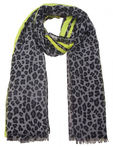 Leslii Damen-Schal Leo Muster Animal-Print grauer Herbstschal weicher Leoparden-Schal Größe 180cm x