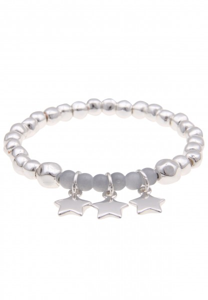 Leslii Damen-Armband Stein Kugeln Silber Grau Metalllegierung Naturstein 19cm dehnbar 260116929