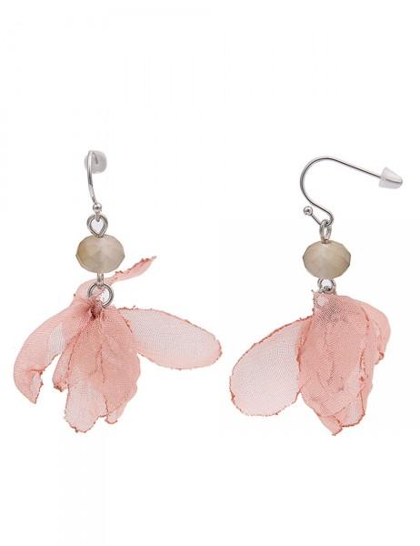-50% SALE Leslii Damen-Ohrringe Ohrhänger Blüten-Blatt Rosa Silber Textil Metalllegierung Länge 5cm