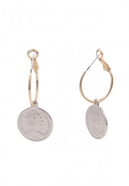 Leslii Damen-Ohrringe Elizabeth goldene Creolen Münzen-Ohrringe Royals Modeschmuck-Ohrringe 3,9cm Go
