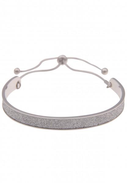 Leslii Damenarmband Armreif Glitzer-Armband Statement-Armband silbernes Modeschmuck-Armband 19cm ver