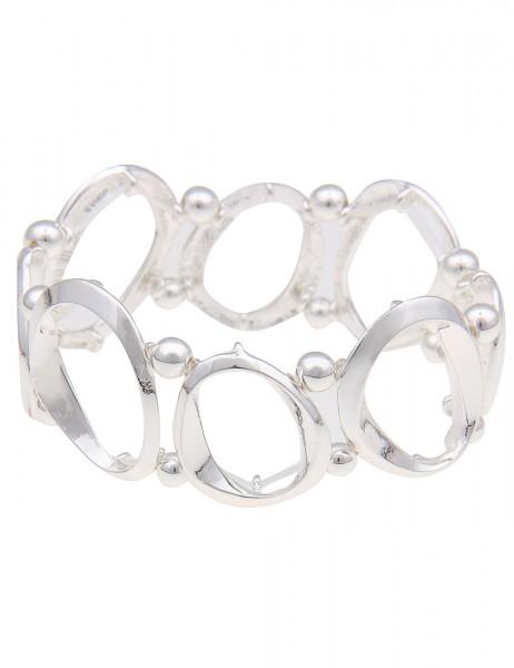 Leslii Damenarmband Armreif Fashion Glanz aus Metalllegierung Länge 19cm dehnbar in Silber