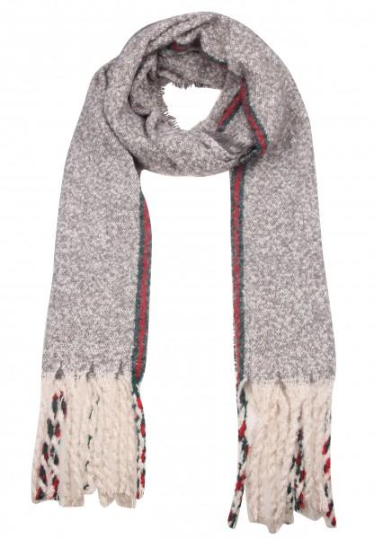Leslii Damen XXL-Schal Streifen Muster 100% Polyester 192cm x 51cm Grau Rot 900117155