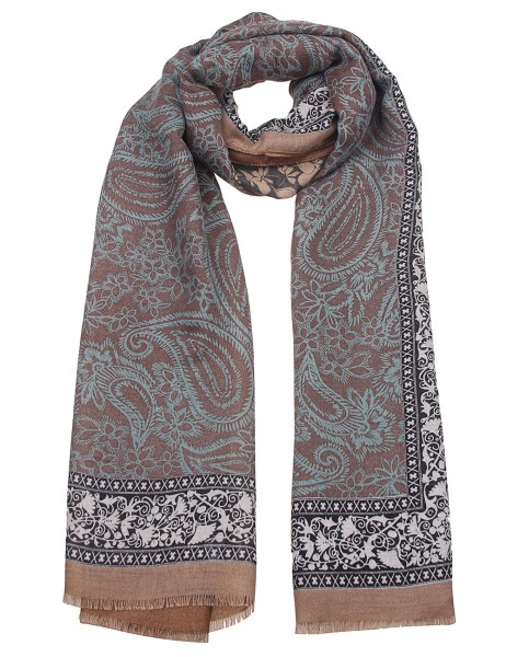 Leslii Damen-Schal Paisley Print bunter Musterschal weicher Herbstschal Paisley-Schal Größe 180cm x