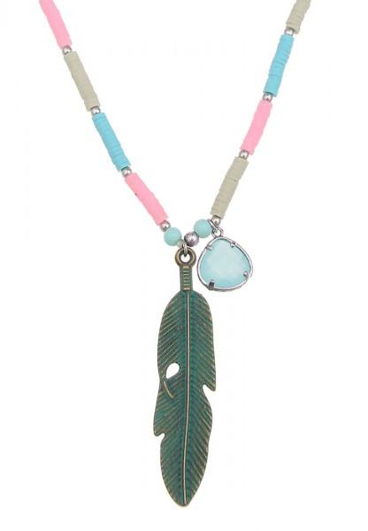 -70% SALE Leslii Colour Feather Blau| Trendige lange Kette | Damen Mode-Schmuck | 90cm